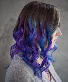 Blue And Purple Balayage For Brown Hair