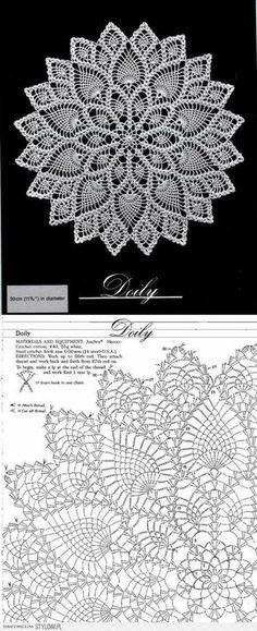 Crochet patterns diagram crocheted round doily with lace katharina bernklau bernklau deck Mandala Au Crochet, Crochet Doily Diagram, Crochet Circles, Crochet Motifs, Crochet Round, Crochet Chart, Thread Crochet, Crochet Stitches, Lace Knitting Patterns