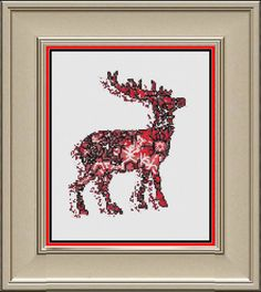 Christmas Deer  silhouette with snowflake by Buzzbeedesigns
