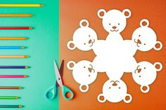 Easy-to-follow paper snowflake pattern with steps on how to fold & cut out a snowflake that looks like a bear! $1 PDF Download to print out at home and create a cute, one-of-kind paper snowflake. Perfect for arts & crafts, holiday decorations, homeschool art lessons, gifts, table decor, and more. #snowflake #papersnowflake #papersnowflakes #snowflakes #pattern #DIY #Christmas #xmas #snowflakepattern #papersnowflakepattern #pattern #template #bear #teddybear Paper Snowflake Template, Paper Snowflake Patterns, Paper Snowflakes, Print And Cut, Art Lessons, Arts And Crafts, Templates, Table Decorations, Holiday Decor