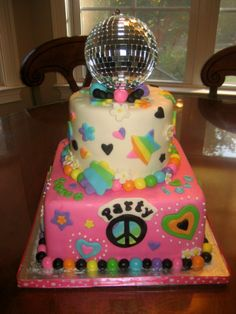 Disco...Peace, Love, Party! - Everything edible except disco ball on top...that was part of the birthday girl's present!!!