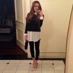 Amelia Liana: cropped skinny jeans, pointed heels, cropped jumper and long white shirt. V chic.