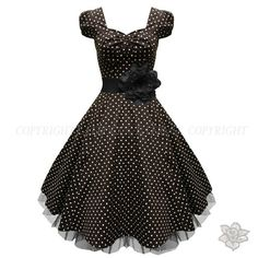 1950'S black and white polka dot dress | black_polka_dot_dress_rockabilly_prom_dress_lbd_party_dress._front_wbb ...