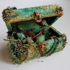 altered wooden box- mixed media- sea theme- crackle pasteYou can find Altered boxes and more on our website. Mixed Media Boxes, Mixed Media Collage, Mixed Media Canvas, Cigar Box Crafts, Altered Cigar Boxes, Deco Nature, Creation Deco, Altered Bottles, Sea Theme