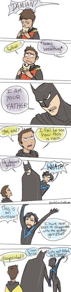Batman version (Bruce Wayne, Damian Wayne, and Dick Grayson) Nightwing, Batgirl, Catwoman, Tim Drake, Damian Wayne, Robins, Red Hood, Nananana Batman, Hq Dc