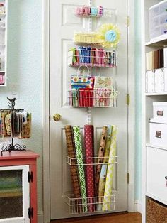 Craft Room Ideas for Small Spaces 69 Maximizing Small Craft Room Storage Using Mounted Craft Storage Behind the Door Ideas 5 Craft Room Storage, Sewing Room Storage, Laundry Room Storage, Sewing Rooms, Craft Organization, Paper Storage, Bathroom Laundry, Ribbon Storage, Closet Organization