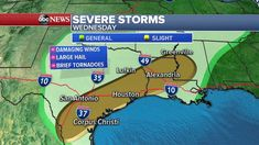 Severe weather flash flooding threaten millions in central US -  Over 20 million Americans from Texas to Alabama are at risk for severe weather through Thursday as a storm system moves through the central U.S. over the next few days bringing several rounds of heavy rain.  Interested in Weather?  Add Weather as an interest to stay up to date on the latest Weather news video and analysis from ABC News.  Add Interest  An additional 20 million Americans are at risk for flooding from Texas to…