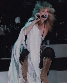 Stevie doing her iconic 'crouch' onstage during her 'The Wild Heart' album tour, 1983 ~ ♫♥❤♥♫ ~ https://en.wikipedia.org/wiki/The_Wild_Heart_(album)