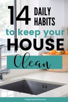 Are you wondering what the secret is to always having a clean home? These 14 daily habits will help you avoid the mess and keep your house clean and tidy. Daily Cleaning Lists, House Cleaning Checklist, Clean House Schedule, Weekly Cleaning, Household Cleaning Tips, Cleaning Hacks, Cleaning Routines, Deep Cleaning, Cleaning Calendar