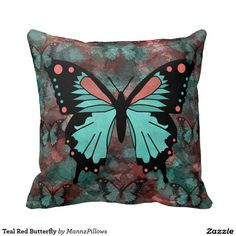 Shop Teal Red Butterfly Throw Pillow created by MannzPillows. Butterfly Pillow, Red Butterfly, Cushion Pillow, Decorative Throw Pillows, Decorating Your Home, Home Accessories, Create Your Own, Butterflies, Teal