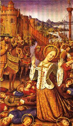 Sainte Ursule et ses Compagnes, martyres. Les soldats huns sont habillés comme ceux du temps des contemporains du peintre.