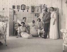 Czar Nicholas II surrounded by his beloved ladies. L-R: Grand Duchess Tatiana, Empress Alexandra, Grand Duchess Marie, Grand Duchess Anastasia, Czar Nicholas, and Grand Duchess Olga.