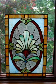 Antique Stained Glass Window Panel Arts Crafts Art Nouveau