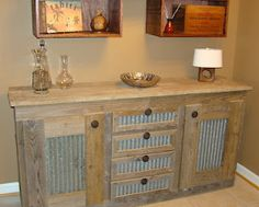 Barn Wood Walls Ideas | Barn Wood Projects--use the barn metal on coopers vanity