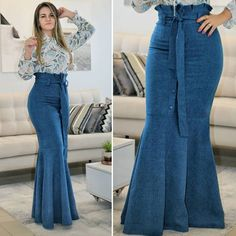 Image may contain: 1 person, standing and shoes Modest Fashion, Hijab Fashion, Fashion Dresses, Iranian Women Fashion, African Fashion, Denim Maxi Dress, Dress Skirt, Skirt Outfits, Chic Outfits