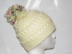 Women's Acrylic Crochet Beanie Hat w Multi-Color Pom-Pom - Medium - Ivory - Super Soft - Made in USA