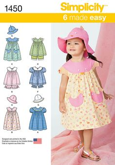 these dresses, tops, panties and hats for toddlers' make the perfect play   clothes and are also great for dressing up. all items can be made with a variety of trims and appliques for added fun.   simplicity sewing pattern.