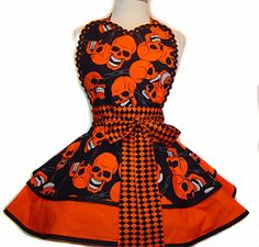 """Alexander Henry """"Steel + Bone"""" READY TO SHIP Diner/Pinup Halloween Apron--A """"Tie Me Up Aprons"""" Exclusive Limited Edition on Etsy, $64.00"""