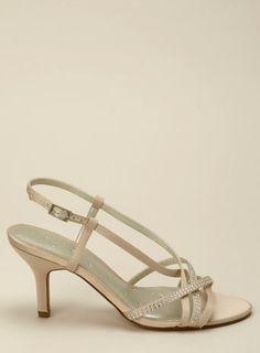 Chic Diamante Champagne Strappy Wedding Shoe