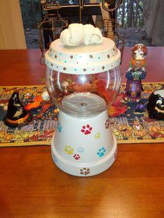Doggy Treat LolliPot...clay pot creation. $28