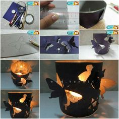 porta candele e farfalle - DIY Butterfly Candle Holder Easy Arts And Crafts, Diy And Crafts, Crafts For Kids, Paper Crafts, Diy Projects To Try, Craft Projects, Project Ideas, Craft Ideas, Butterfly Lamp