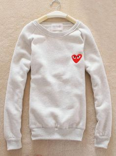 Gray Heart Round Neck Sweatshirt$39.00