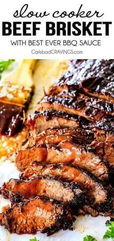 "Wonderfully juicy, flavor exploding, melt-in-your-mouth Slow Cooker Beef Brisket. Wonderfully juicy, flavor exploding, melt-in-your-mouth Slow Cooker Beef Brisket is my favorite meat dish EVER and "" Slow Cooker Barbecue Ribs, Slow Cooker Brisket, Barbecue Sauce, Beef Brisket Recipes Crockpot, Crock Pot Brisket, Slow Cooker Meat Recipes, Crockpot Beef Recipes, Chicken Recipes, Best Ever Brisket Recipe"