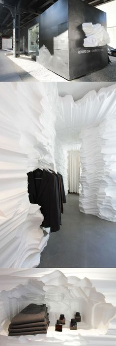 """Russia""  Pop-up store for fashion designer Richard Chai, designed by Brooklyn-based firm Snarkitecture, set in a shipping container underneath the High Line park in New York."