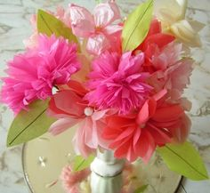Tissue Flowers for Moms Day.. I LOVE these! :)