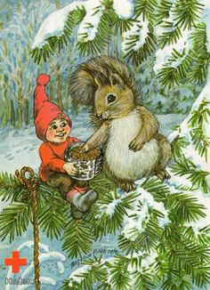 Marjaliisa Pitkäranta Vintage Christmas, Christmas Cards, Gnome House, Fairy Land, Elves, Troll, Scandinavian, Snowman, December
