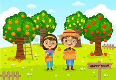 jardinier: Les agriculteurs travaillant dans une ferme, jardinier, fruits de jardin, personnages de dessins animés vecteur Illustration
