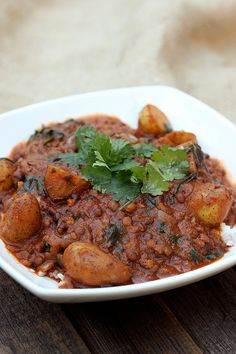 Lentil Mahkani with Potatoes and Spinach (Dal Aloo Palak Makhani) - Gluten-free and Vegan