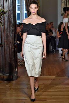 Emilio de la Morena | Spring 2016 Ready-to-Wear | 05 Black off shoulder top and white midi skirt