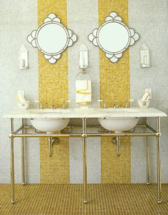 A favorite from a 2008 issue of @HouseBeautiful.  Bathroom by Jay Jeffers.  Lots of tile from Waterworks and mirrors from Pottery Barn.