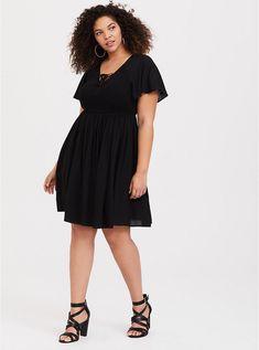 892722b7250 Black Smocked Challis Skater Dress. New Arrivals in Plus Size Dresses.  Torrid