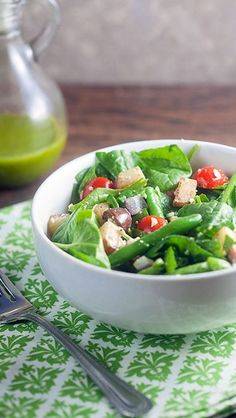 Spinach Salad with Potatoes, Olives & Feta -yumm