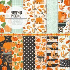 Fall digital paper. Autumn thanksgiving, pumpkin picking, flowers, fall leaf, harvest, wagon digital paper pack. by RusticDigitalPaper on Etsy https://www.etsy.com/uk/listing/466826230/fall-digital-paper-autumn-thanksgiving