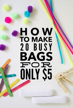 Links to 20 different busy bags you can make Toddler Busy Bags, Toddler Play, Toddler Learning, Preschool Learning, In Kindergarten, Fun Learning, Preschool Activities, Teaching, Toddler Activity Bags