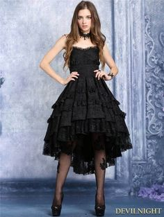 Black Gothic Noble Dovetail Dress - Devilnight.co.uk