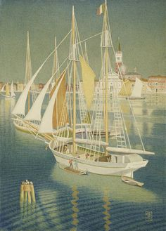 Joseph Edward Southall, Ships from the Adriatic, Venice, 1945, via Birmingham Museum and Art Gallery, posted under Creative Commons http://creativecommons.org/licenses/by-nc-sa/2.0/deed.en_CA