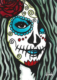 Sugar Skull Self Portrait 2/10 · mixed media (hand-pulled linocut block print + alcohol inks) by Monica Moody · Online Store Powered by Storenvy