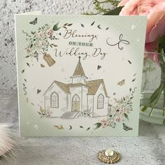 Blessings on Your Wedding Day - Church, Handfinished Wedding Card with Crystals Pastel Colours, On Your Wedding Day, Wedding Cards, Blessings, Envelope, Blessed, Sparkle, Gems, Pottery