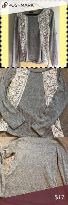 Gray and Lace Sweater Gray and Lace Sweater by StitchFix. Size M. Made of Rayon, polyester, and spandex. Hand wash. EUC. Smoke free home stitchfix Sweaters Crew & Scoop Necks