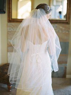 #PencilEdge #Veil | See the wedding on SMP ~ http://www.StyleMePretty.com/oregon-weddings/bend/2014/01/20/classic-fall-wedding-in-oregon/ Marina Koslow Photography