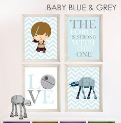Baby Boy Star Wars Nursery Art- Boy Room Decor - 4 Print Set - Star Wars Decor - Baby Shower Gift - Nursery Play Room - Boy Wall Art. We found the one! Love this for our little man's nursery.