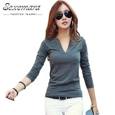 f7dfe45cb329 2018 solid 14 colors V-Neck Blouses Sexy Slim Knitted Long Sleeve Korean  Tops for