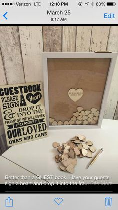 Wedding guest book and shadow box