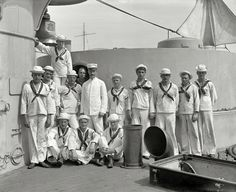 "Circa 1900. ""U.S.S. New York, crew of forward 8-inch guns."""