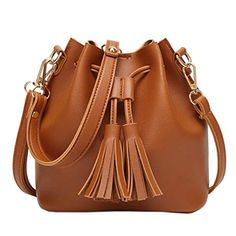 Women Leather Handbag Crossbody Shoulder Messenger Tassels Drawstring Bucket Bag Pu Leather Bucket Bag For Women Bolsa Vintage Mini Crossbody Bag, Crossbody Shoulder Bag, Shoulder Handbags, Leather Shoulder Bag, Shoulder Bags, Tote Bag, Leather Crossbody, Shoulder Sling, Clutch Bags