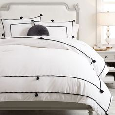 This casual boho duvet cover brings whimsy to your sleep space with playful tassel accents and a dotted border design. Made from pure cotton chambray, it's a soft and stylish layer to snooze under. Boho Duvet Cover, Girls Duvet Covers, Organic Duvet Covers, Twin Size Duvet Covers, Black Duvet Cover, White Duvet Covers, Pillow Covers, Duvet Bedding, Girl Swag
